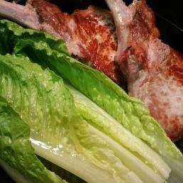 Move Pork aside and wilt lettuce in same pan. All that flavor!